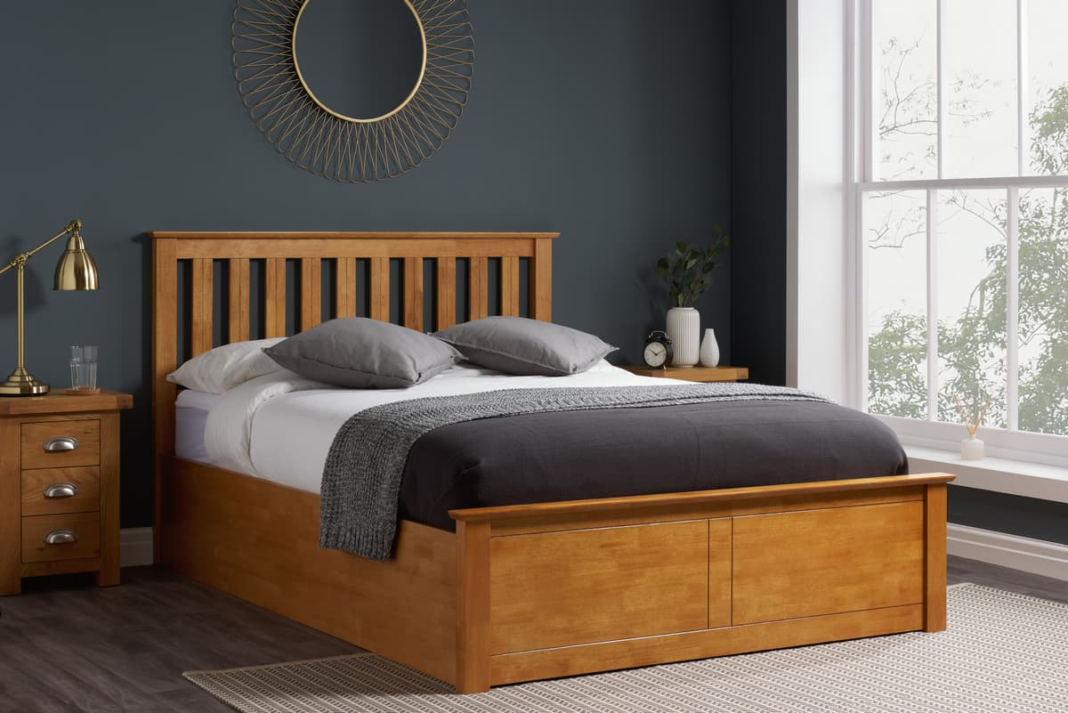 Phoenix Wooden Ottoman Bed Available In Grey Oak White Navy